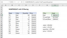 Excel formula: SUMPRODUCT with IF