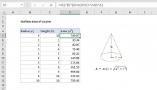 Excel formula: Surface area of a cone