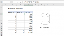 Excel formula: Surface area of a cylinder
