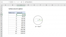 Excel formula: Surface area of a sphere