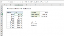 Excel formula: Tax rate calculation with fixed base