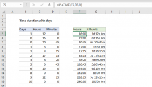 Excel formula: Time duration with days