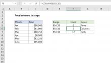 Excel formula: Total columns in range