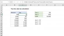 Excel formula: Two-tier sales tax calculation