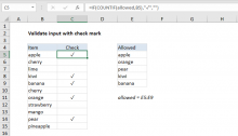 Excel formula: Validate input with check mark
