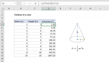 Excel formula: Volume of a cone