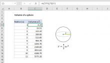 Excel formula: Volume of a sphere
