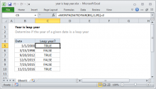 Excel formula: Year is a leap year