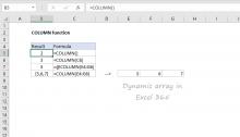 Excel COLUMN function