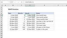 Excel EDATE function