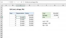 Excel SLN function