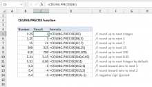 Excel CEILING.PRECISE function