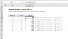 Excel COMBIN function
