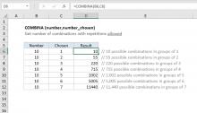 Excel COMBINA function