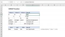 Excel CONCAT function