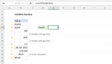 Excel COUNTA function