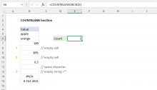 Excel COUNTBLANK function