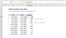 Excel DAYS function