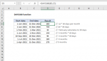 Excel DAYS360 function
