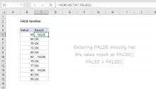 Excel FALSE function