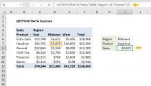 Excel GETPIVOTDATA function