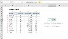 Excel INDEX function