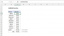 Excel ISERROR function