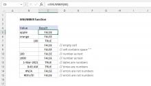 Excel ISNUMBER function