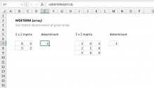 Excel MDETERM function