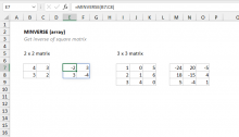 Excel MINVERSE function