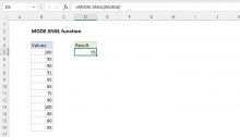 Excel MODE.SNGL function