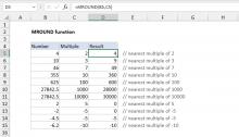 Excel MROUND function