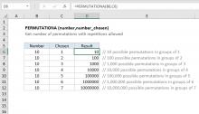 Excel PERMUTATIONA function