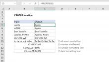Excel PROPER function
