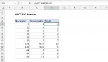 Excel QUOTIENT function