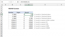 Excel ROUND function