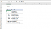 Excel ROWS function