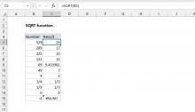 Excel SQRT function