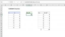 Excel SUMXMY2 function