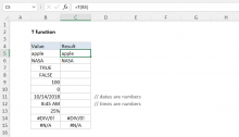 Excel T function