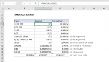 Excel TIMEVALUE function