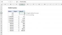 Excel TRUNC function