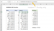 Excel WORKDAY.INTL function
