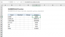 Excel NUMBERVALUE function