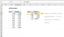 Excel ACOS function