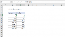 Excel ARABIC function