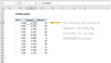 Excel ATAN function