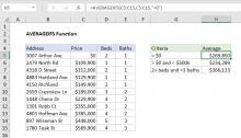 Excel AVERAGEIFS function