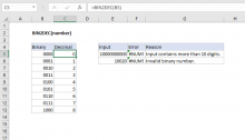 Excel BIN2DEC function