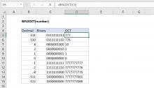 Excel BIN2OCT function